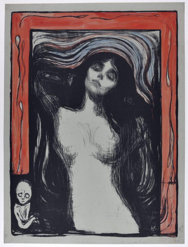 Edvard Munch, Madonna, 1895-1902, litografia kolorowana akwarelą, 593 × 441 mm, Gabinet Rycin BUW, kolekcja Henryka Grohmana